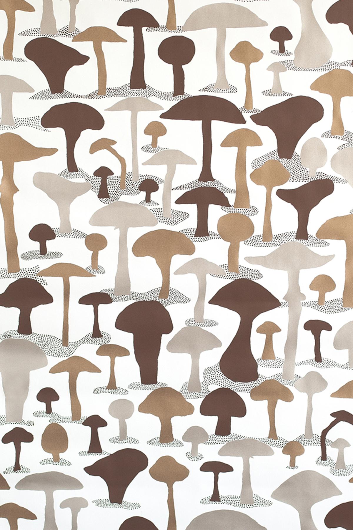 Mushroom Wallpaper   Metallic Monument Interiors 1200x1800