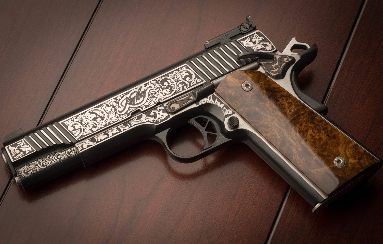 Wallpaper gun weapons background patterns Custom Kimber 1332x850