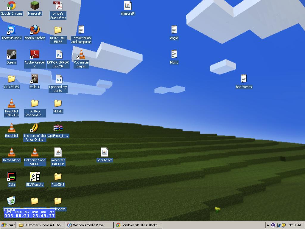 Windows XP Bliss Desktop Background Recreated in Minecraft The 1024x768