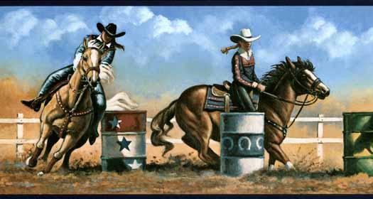 Cowgirl Barrel Racing Wall Paper Border WS5915B   Wallpaper Border 525x280