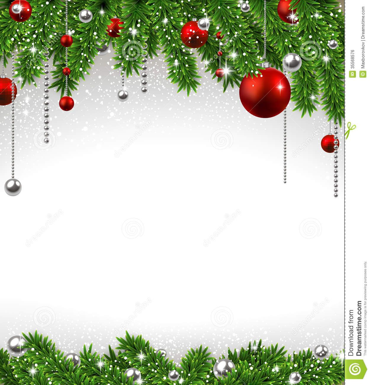 Christmas Background With Fir Branches And Balls Royalty 1253x1300