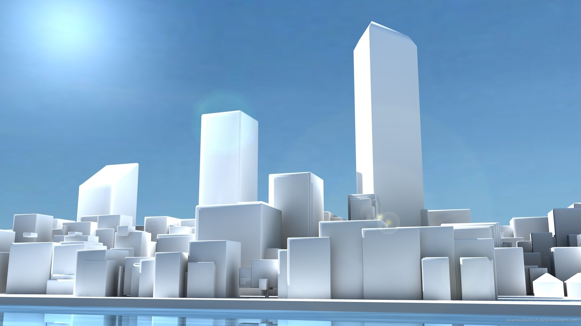 HD White 3D Cityscape Wallpaper 1920x1080