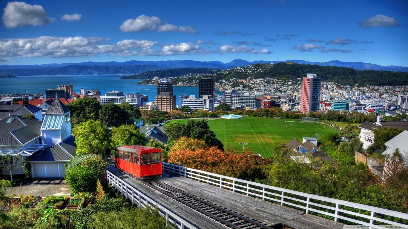 New Zealand Houses Wellington From Above 4K HD Desktop 1366x768