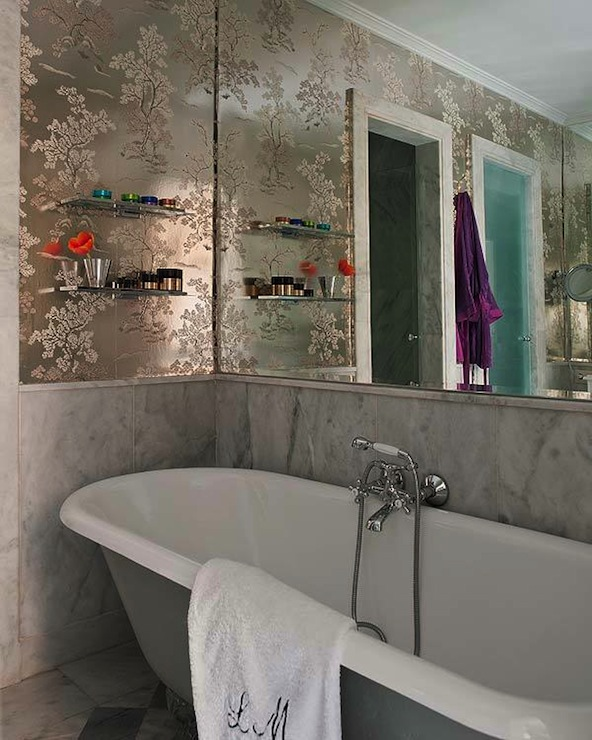 Metallic Foil Wallpaper   Transitional   bathroom   Nuevo Estilo 592x740