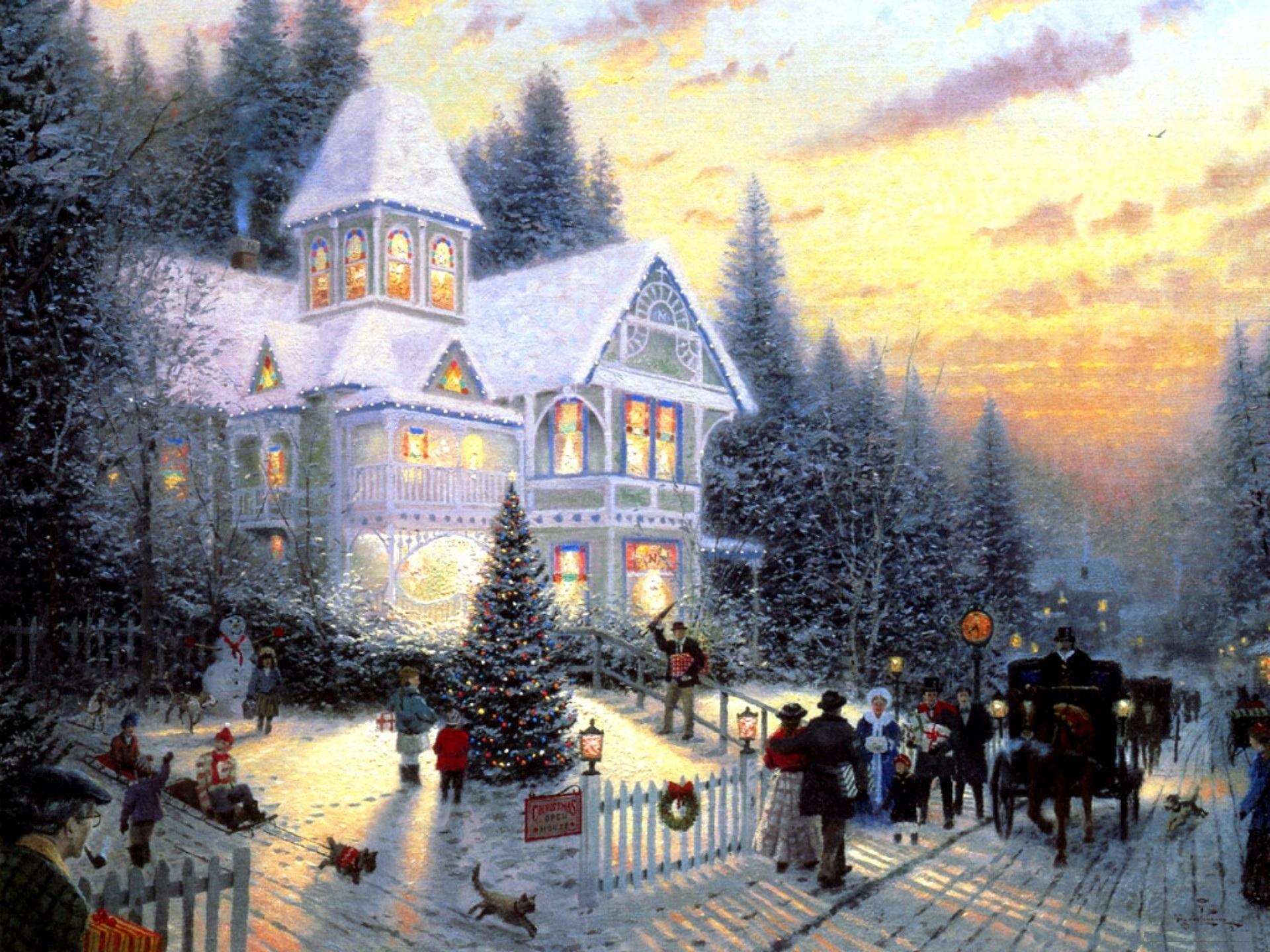 Wallpaper victorian christmas thomas kinkade cottage christmas tree 1920x1440
