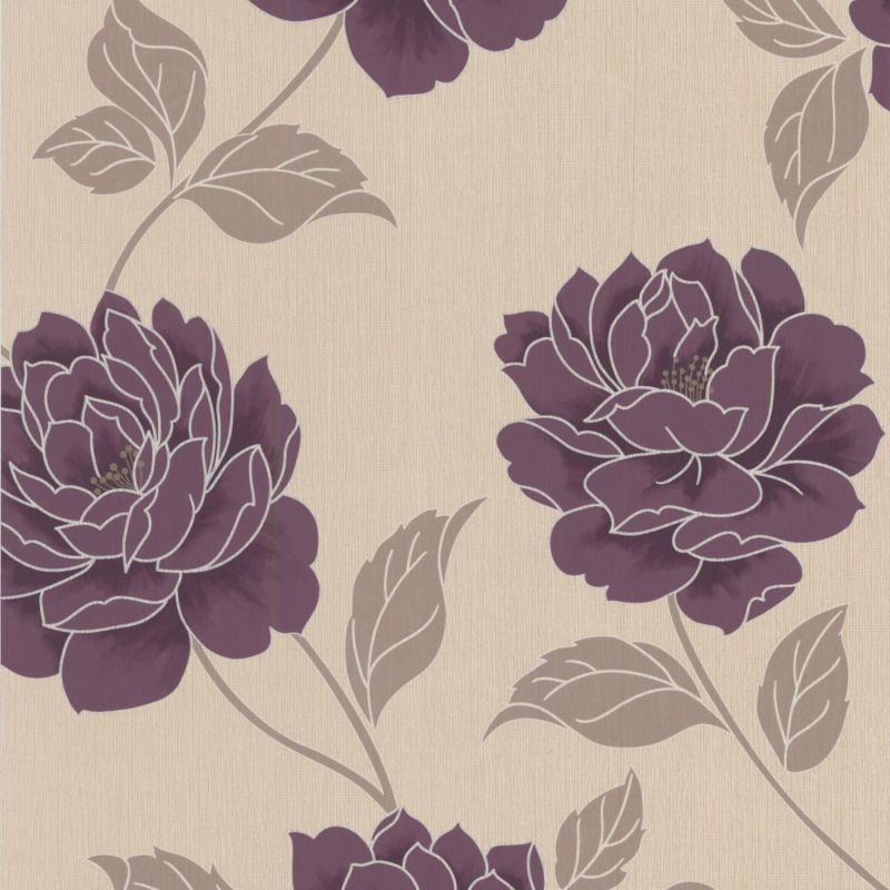 Colours by B and Q Ella Wallcovering Plum 1m 800x800