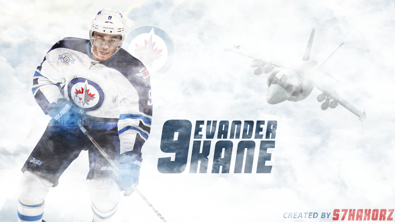 desktop wallpaper featuring Winnipeg Jets winger Evander Kane 1366x768