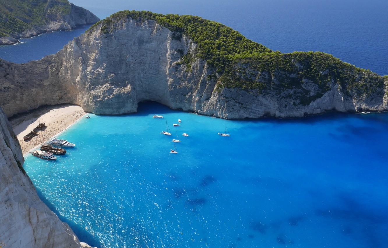 Wallpaper beach rocks boat ship island yacht Greece The 1332x850