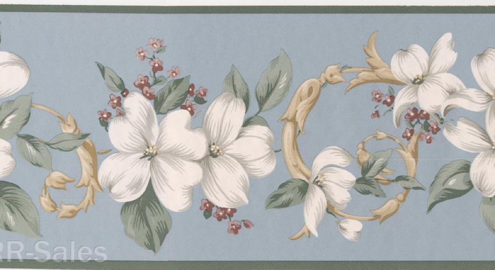 Botanical Floral Vine Classic Blue Wall Wallpaper Border eBay 1000x546