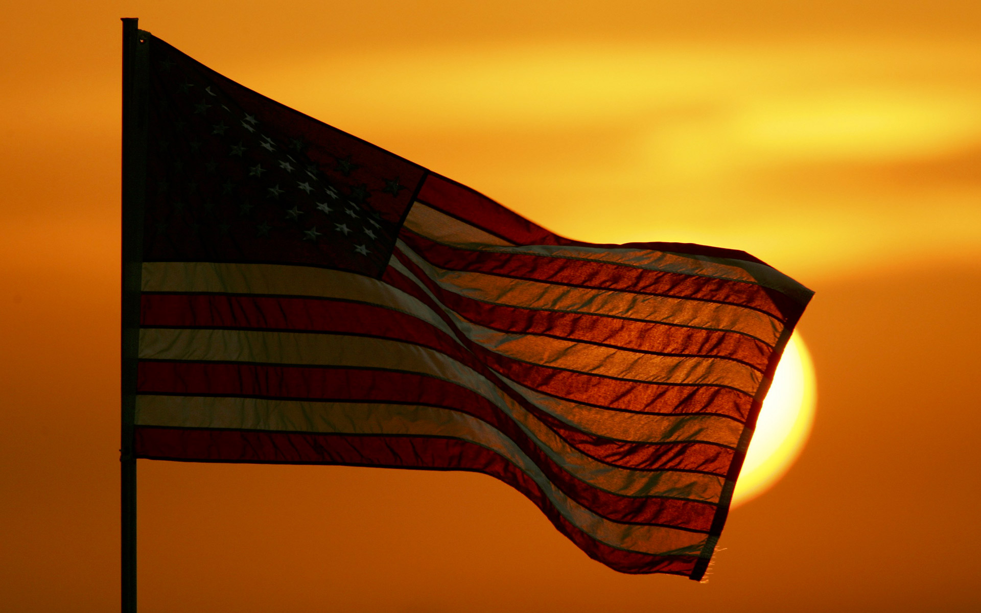 United States Flag At Sunset computer desktop wallpapers pictures 1920x1200