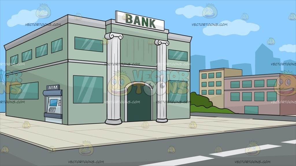 Outside A Bank Background Clipart Cartoons By VectorToons 1024x576