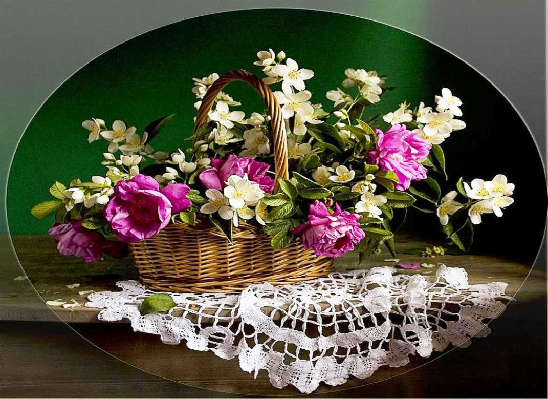 Basket Floral White Peonies Flowers Spring Pink Lace   Spring 1071x779