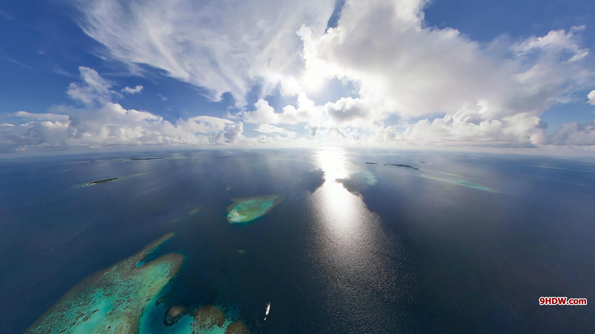 Ocean Sunny Sky Wallpaper HD 1920x1080 2557 1920x1080