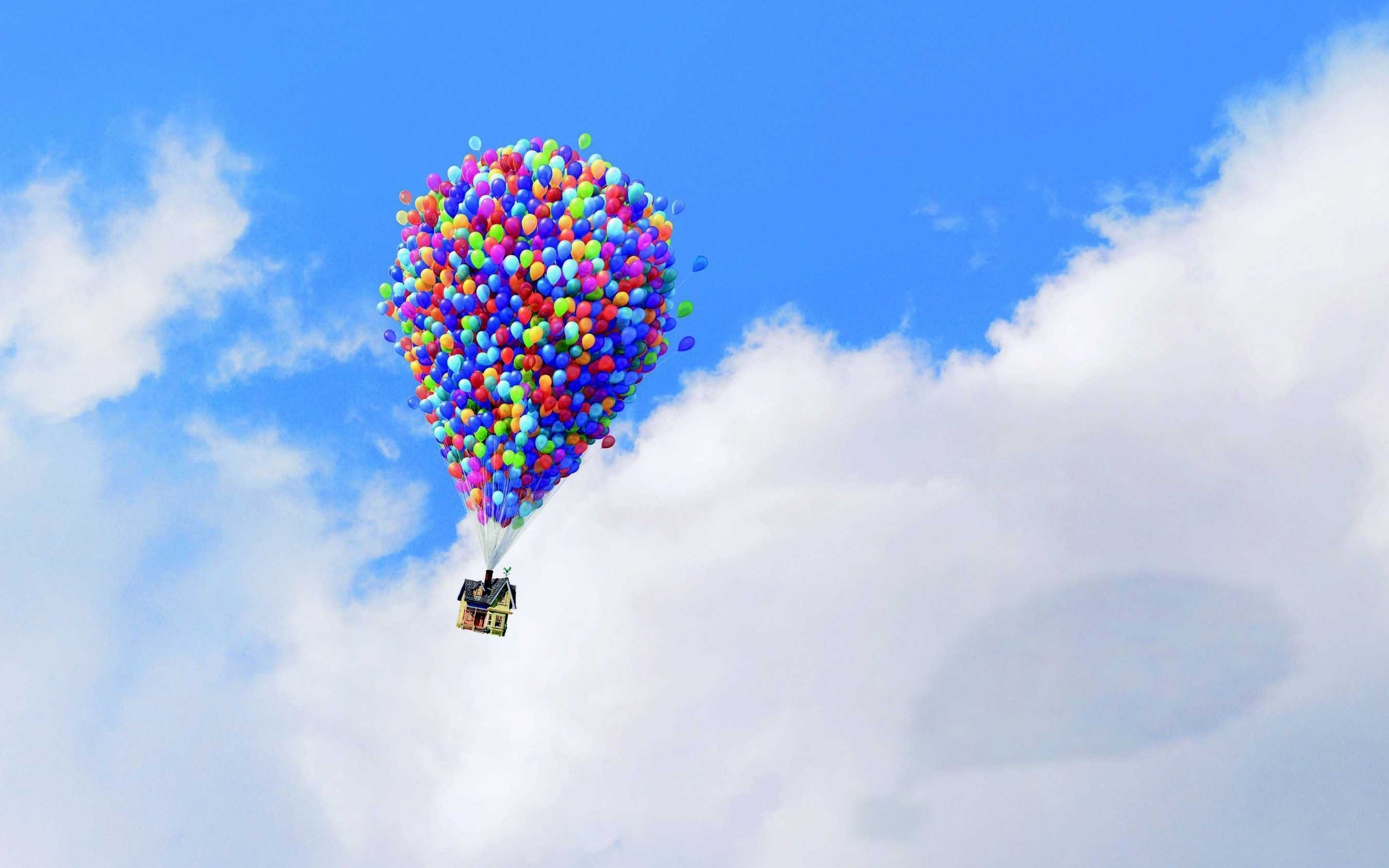 Wallpaper Up Up pixar Pixar animation balloons house sky clouds on 2560x1600