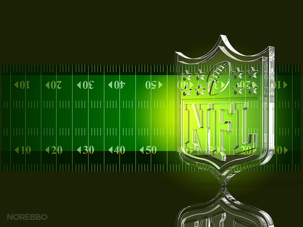... glass NFL football logo over a dark green football field background