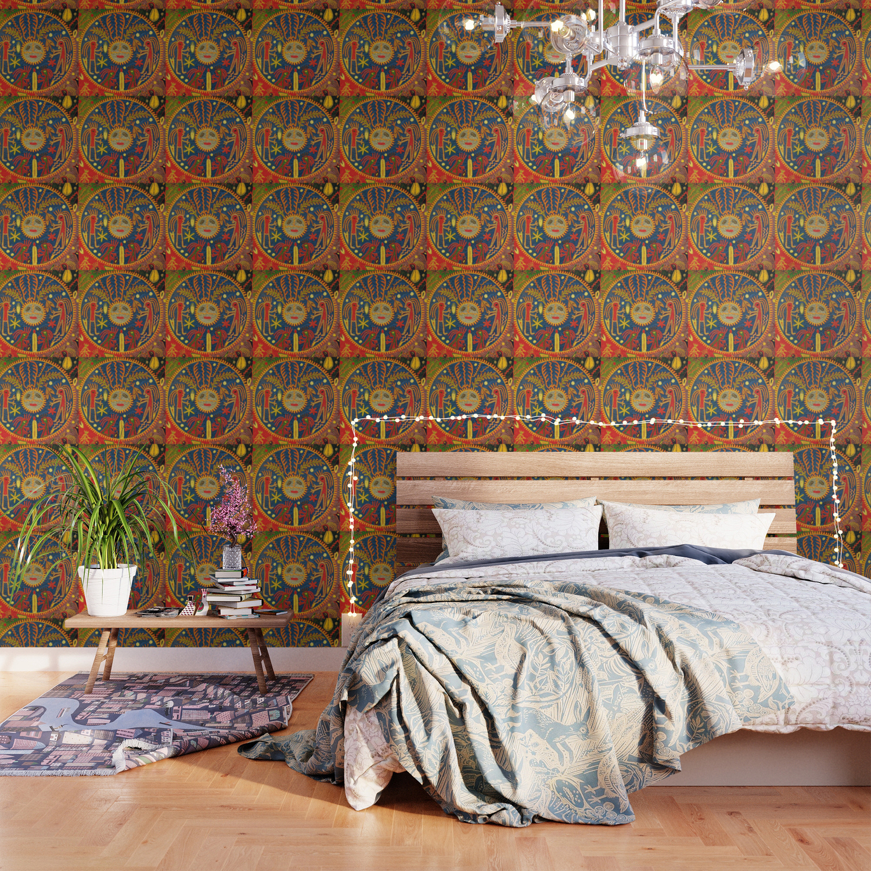 Peyote Sun Ritual Huichol Wallpaper by vagabond folk art Society6 1500x1500