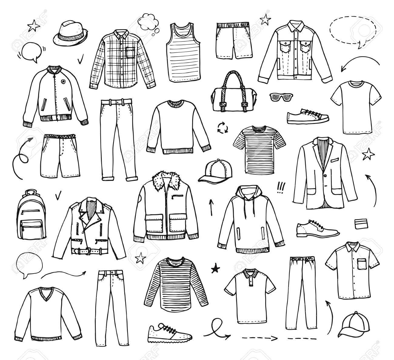 Hand Drawn Mens Clothing Vector Illustration On White Background 1300x1191