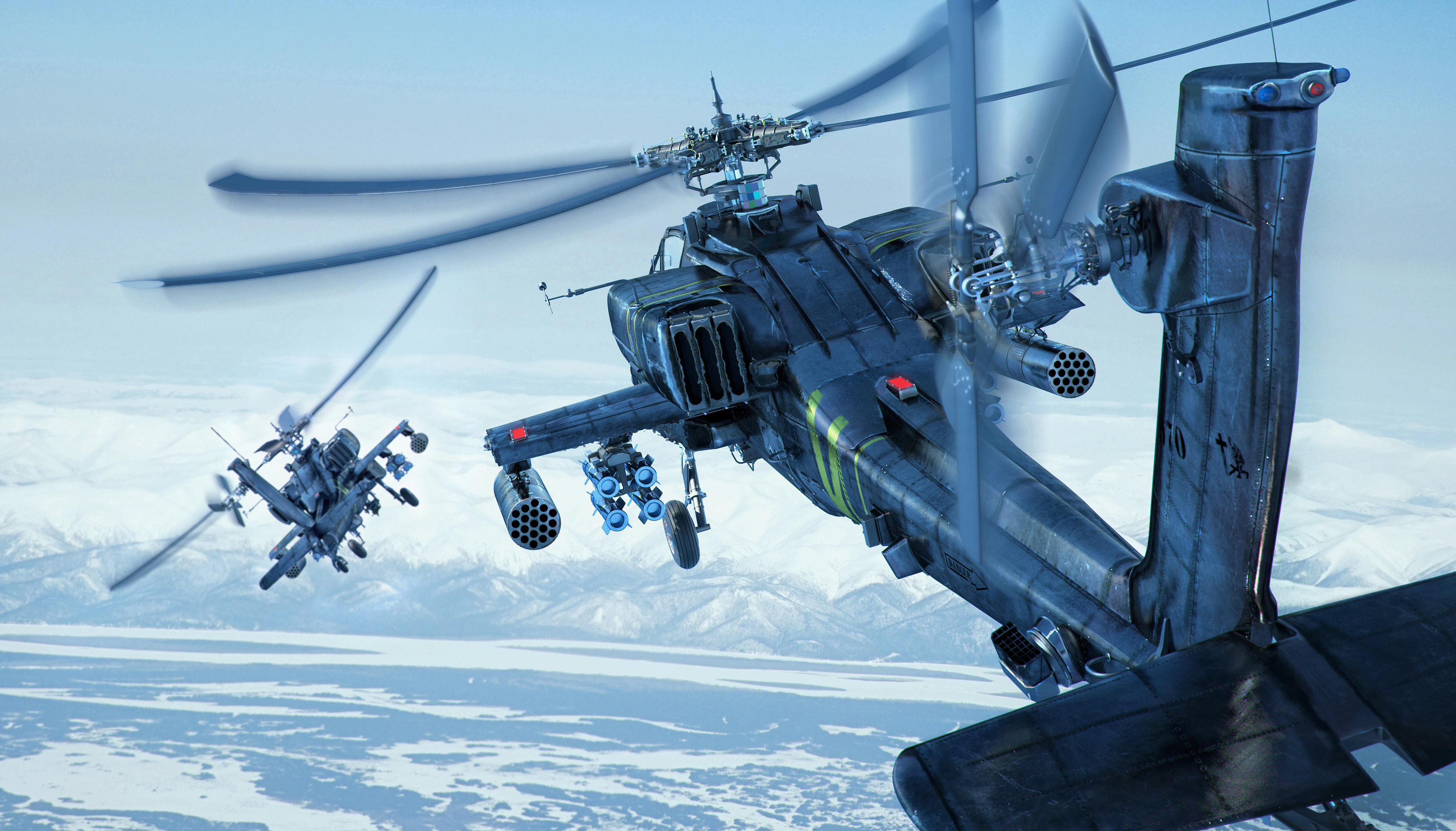 sky apache boeing longbow ah 64d helicopter military d wallpaper 3700x2113