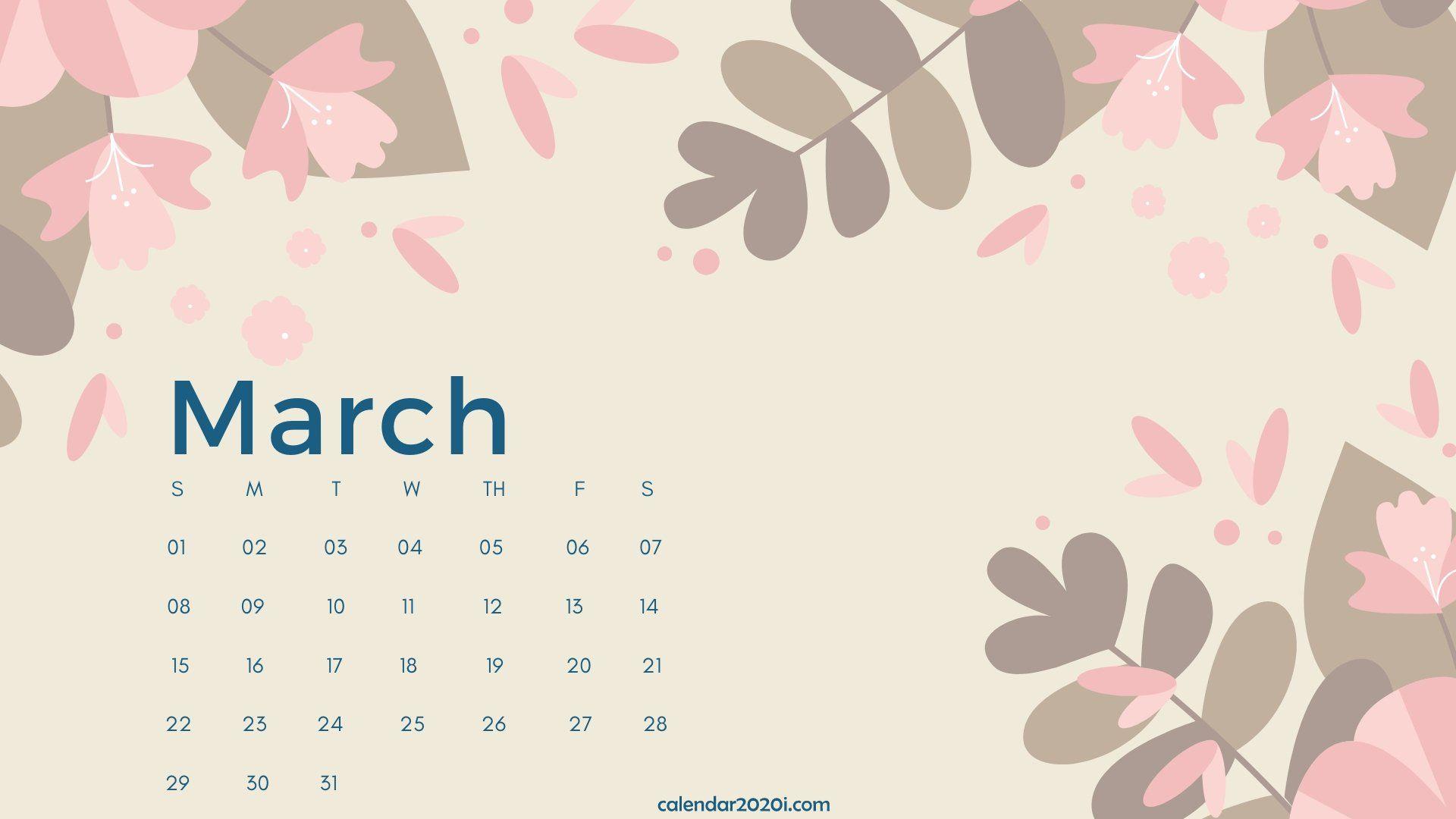 March 2020 Calendar Desktop Wallpaper calendar template 1920x1080