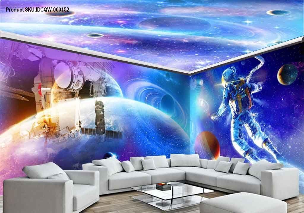 3D Astronauts Universe Ceiling Entire Room Wallpaper Wall Murals 1024x718
