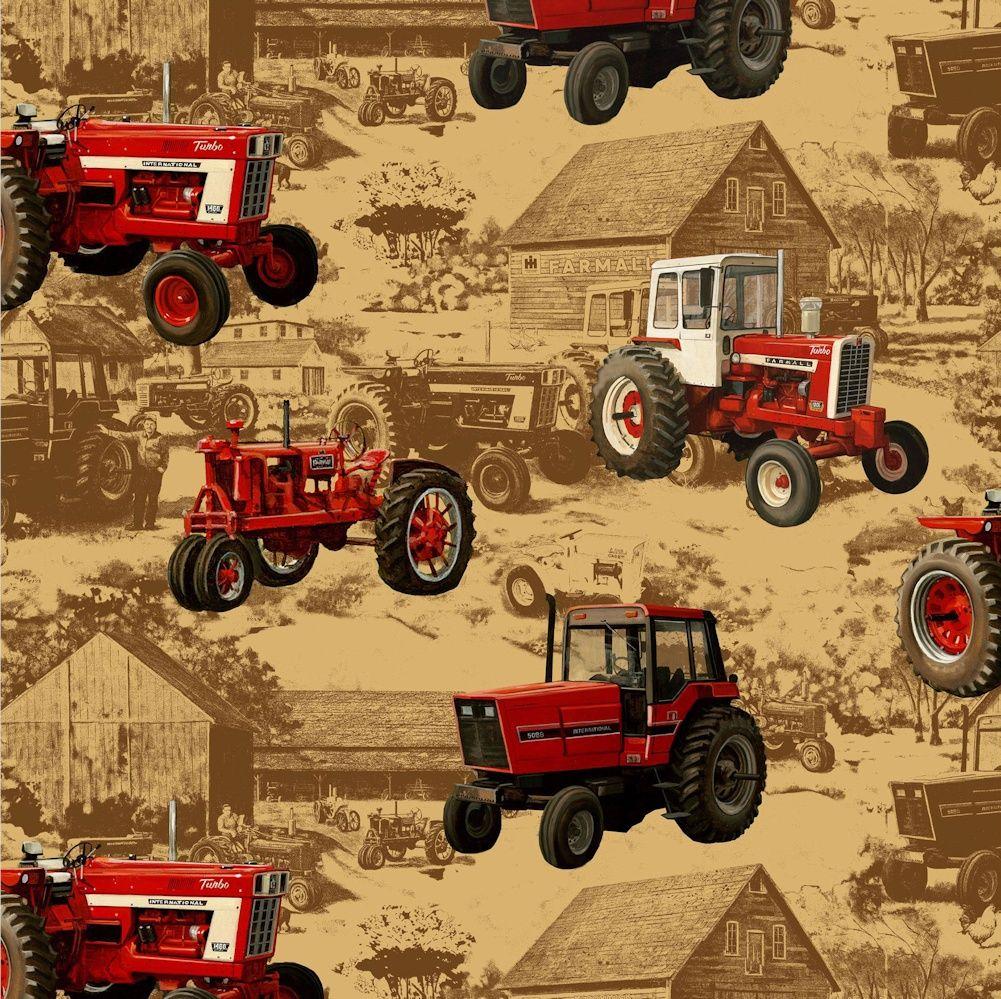 FarmallInternational Big Tractors on Brown Background Cotton 1001x999