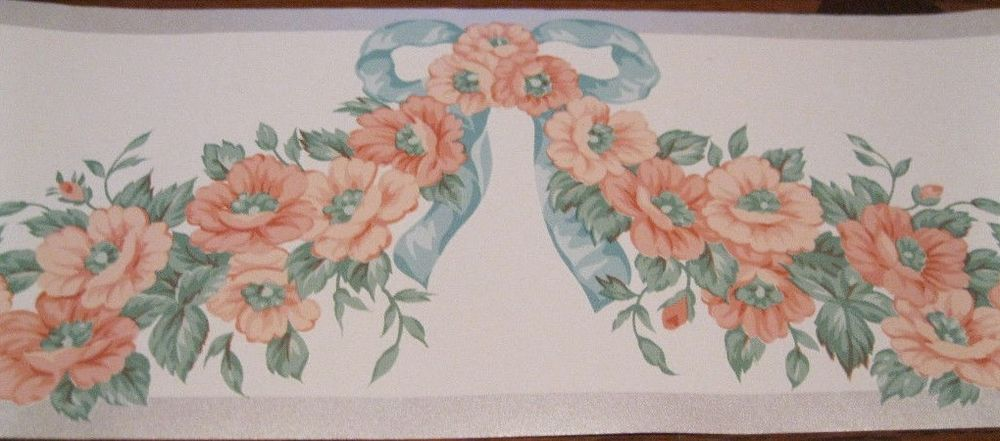 Draped Orange Roses Blue Ribbon Wall Wallpaper Border 256250 Silver 1000x441
