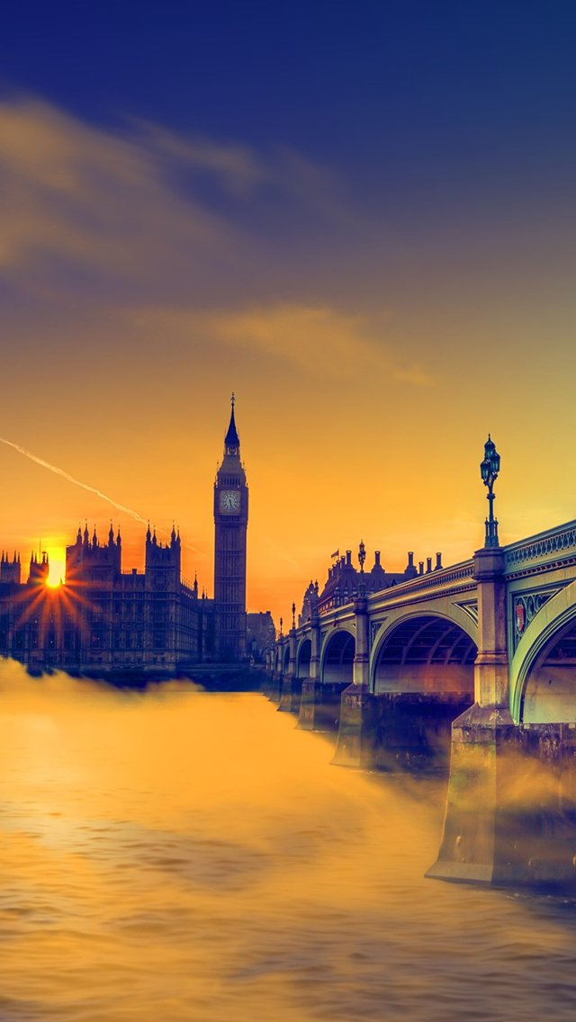 UK Sunset Big Ben Bridge iPhone 5s Wallpaper Download iPhone 640x1136