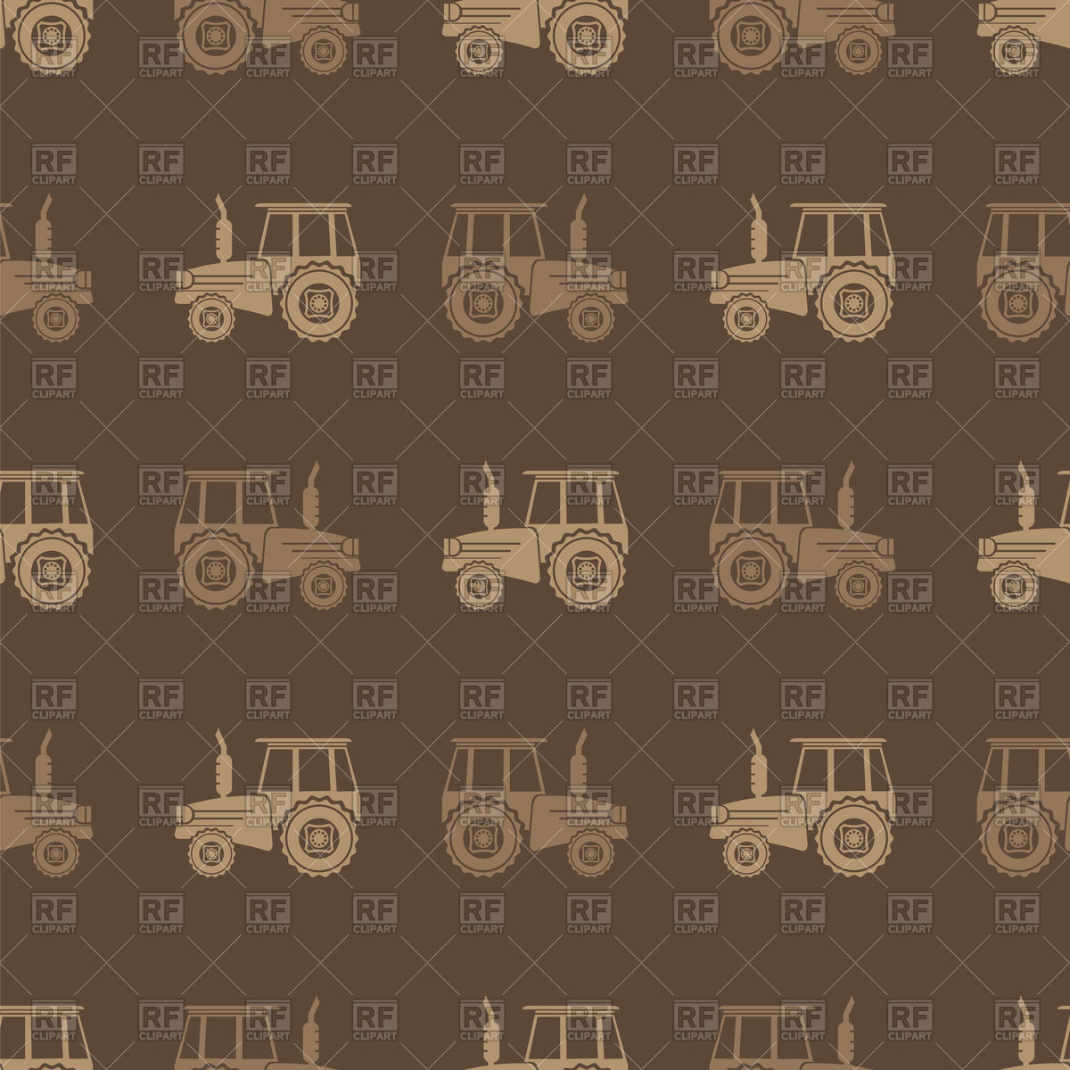Seamless pattern with tractor on brown background Vector Image of 1200x1200