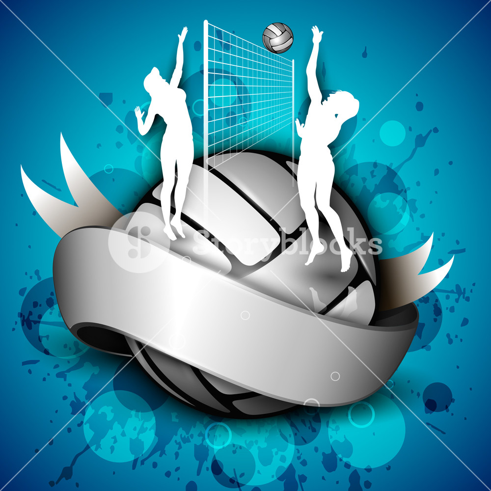 Silhouette Of Volley Ball Girls Player Playing Volleyball Ans 1000x1000