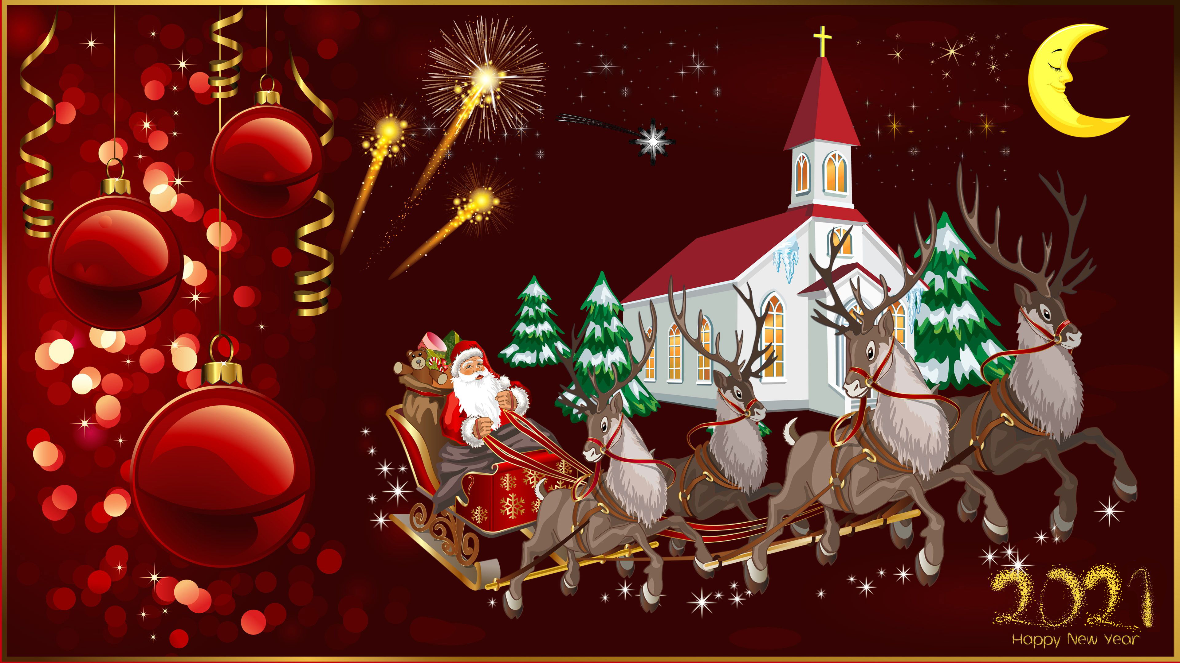 Happy New Year 2021 Merry Christmas Christmas Greeting Card Santa 3840x2160