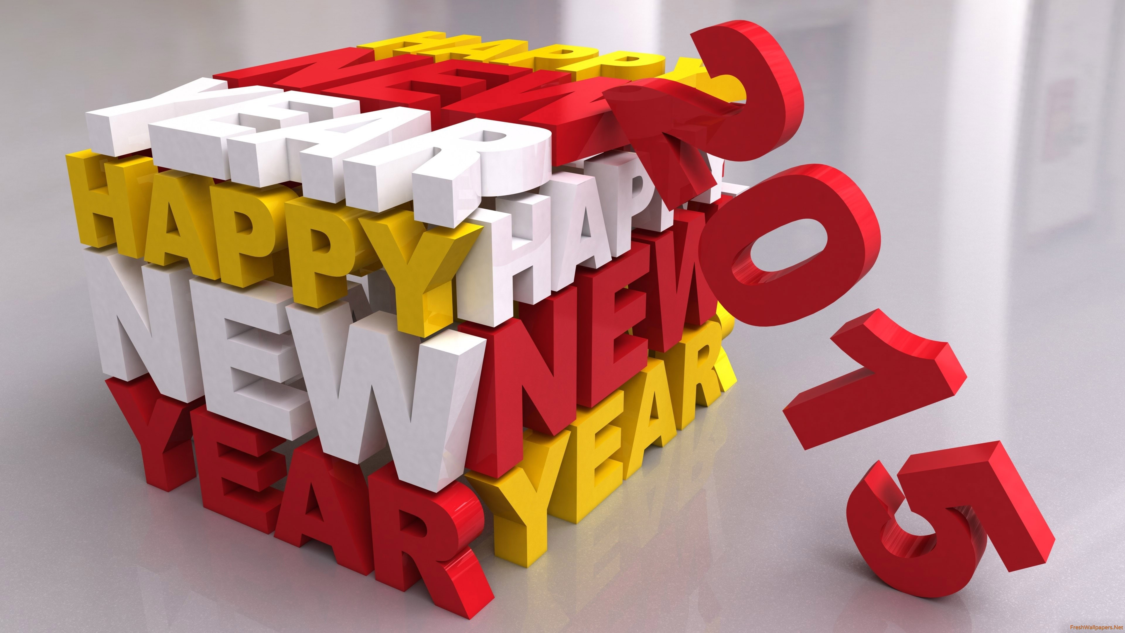 Happy New Year 2015 3D wallpapers Freshwallpapers 3840x2160