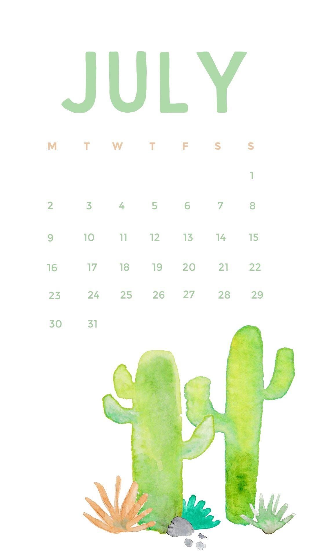 Watercolor July 2018 iPhone Calendar Calendar 2018 Calendar 1080x1920