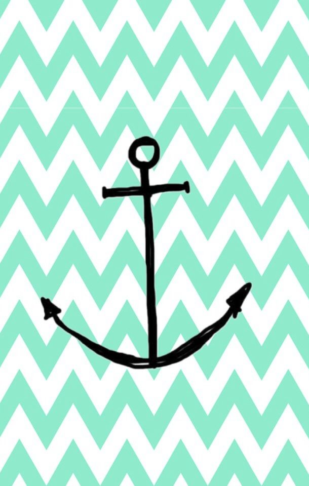 Mint chevron anchor wallpaper iphone iPhone iPad Mac Pinterest 610x960