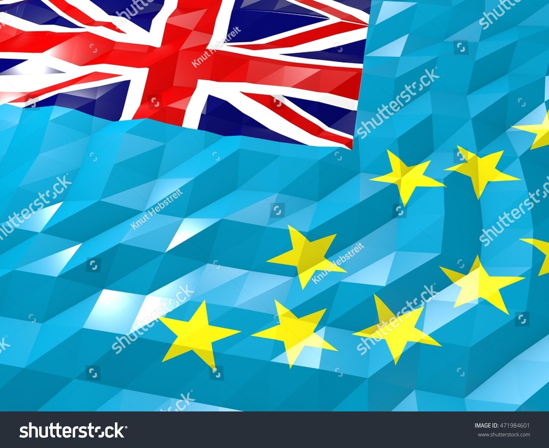 Flag Tuvalu 3 D Wallpaper Illustration National Stock Illustration 1500x1225