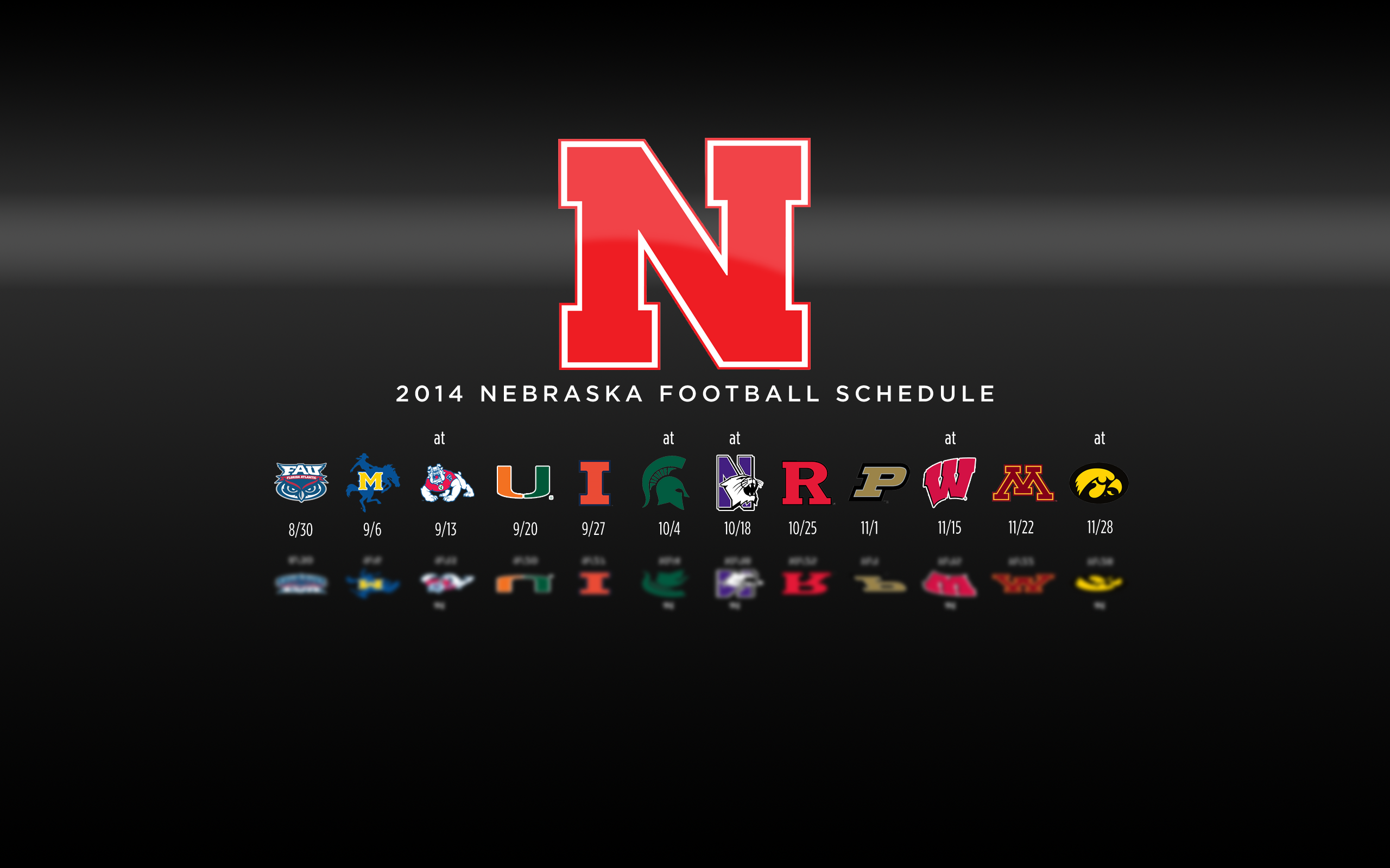 Black Background 2014 Nebraska Football Schedule Wallpaper 2560x1600