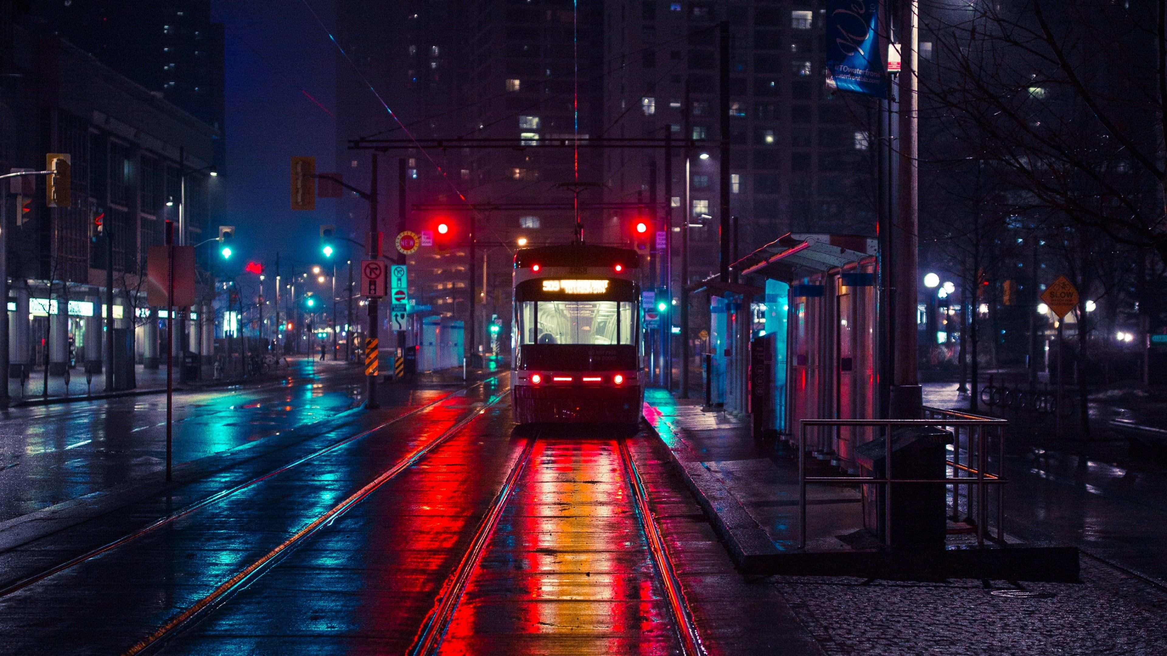 cityscape electric rail electricity darkness street downtown 3840x2160