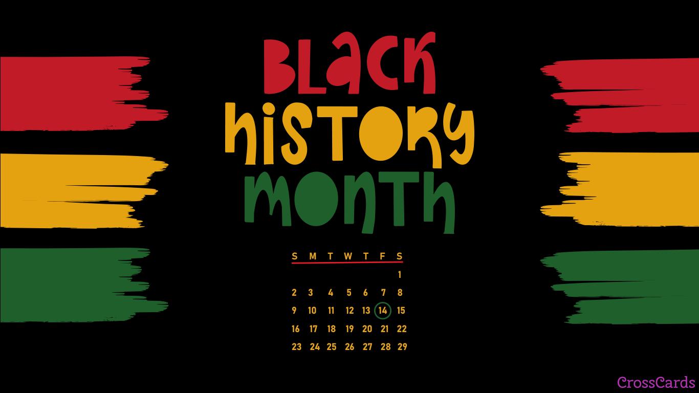 February 2020   Black History Month Desktop Calendar 1366x768