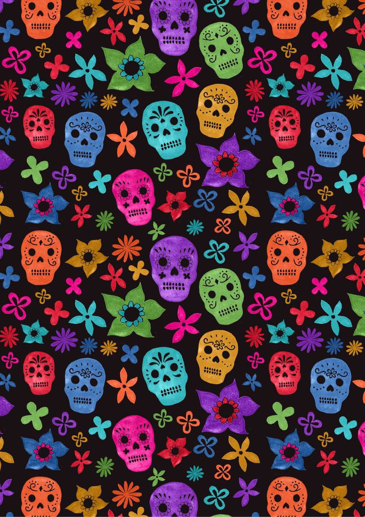 Black background Sugar Skulls Phone wallpaper Pinterest 736x1041