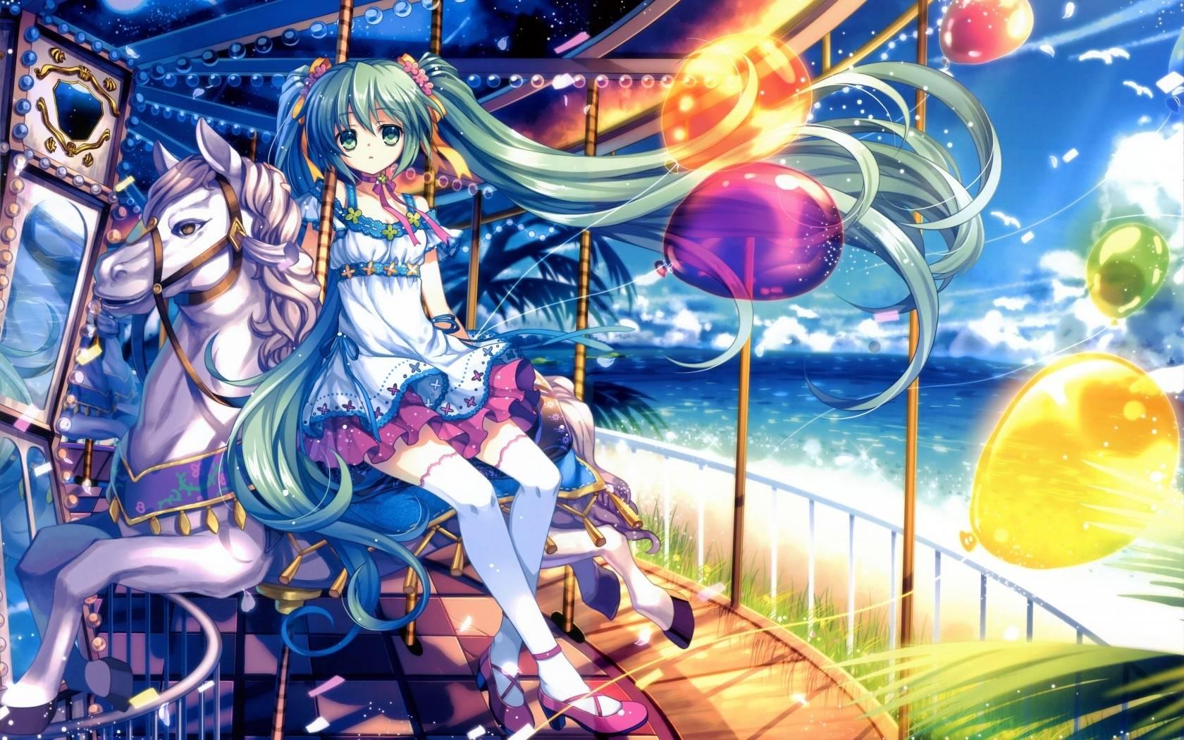 Girl in merry go round   Anime Manga Wallpaper 1680x1050