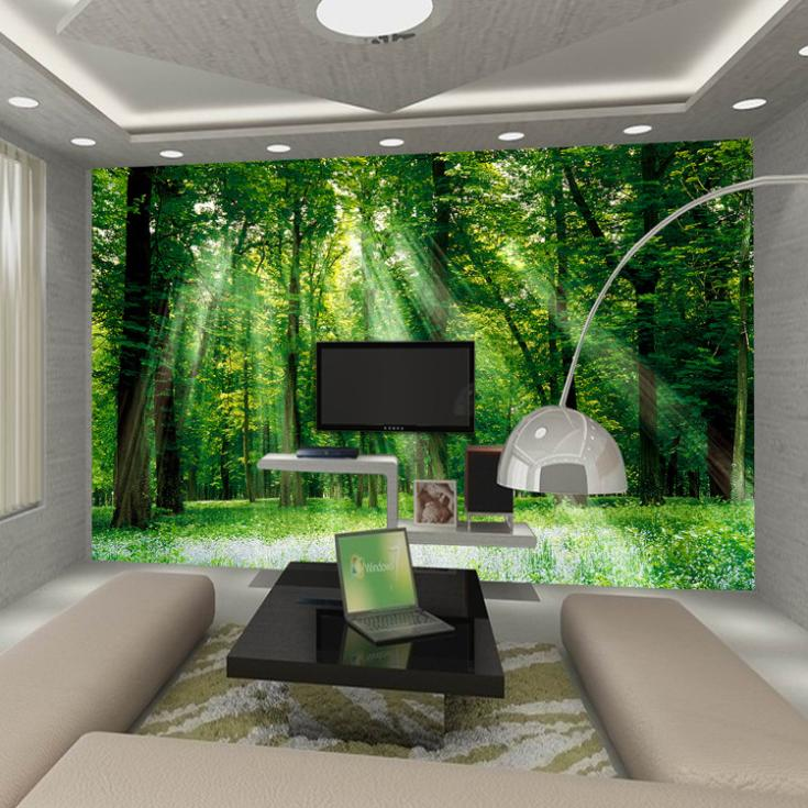 bedroom living room TV backdrop wallpaper modern Chinese green 735x735