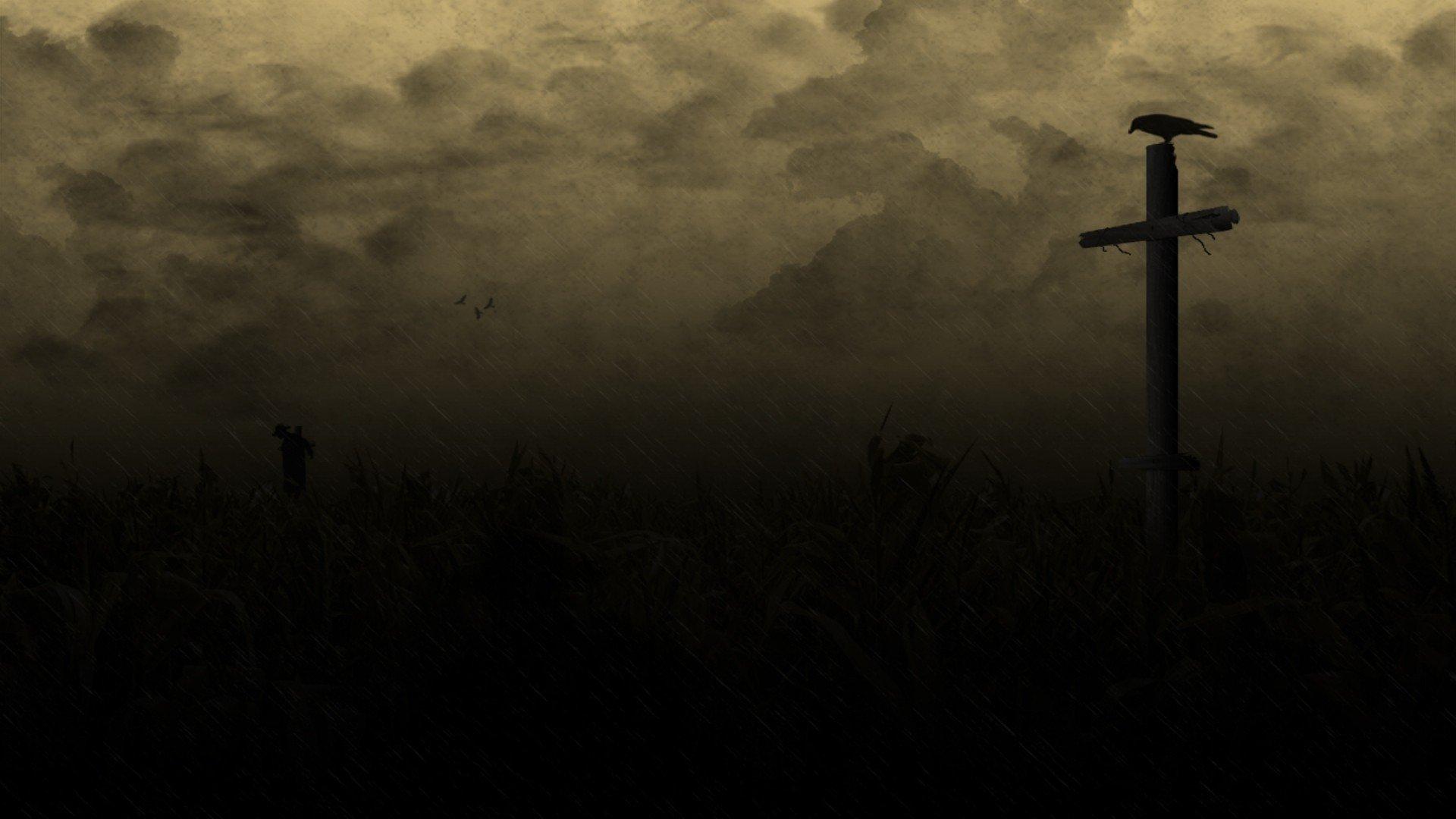 Horror creepy cross dark Raven country field wallpaper 1920x1080 1920x1080