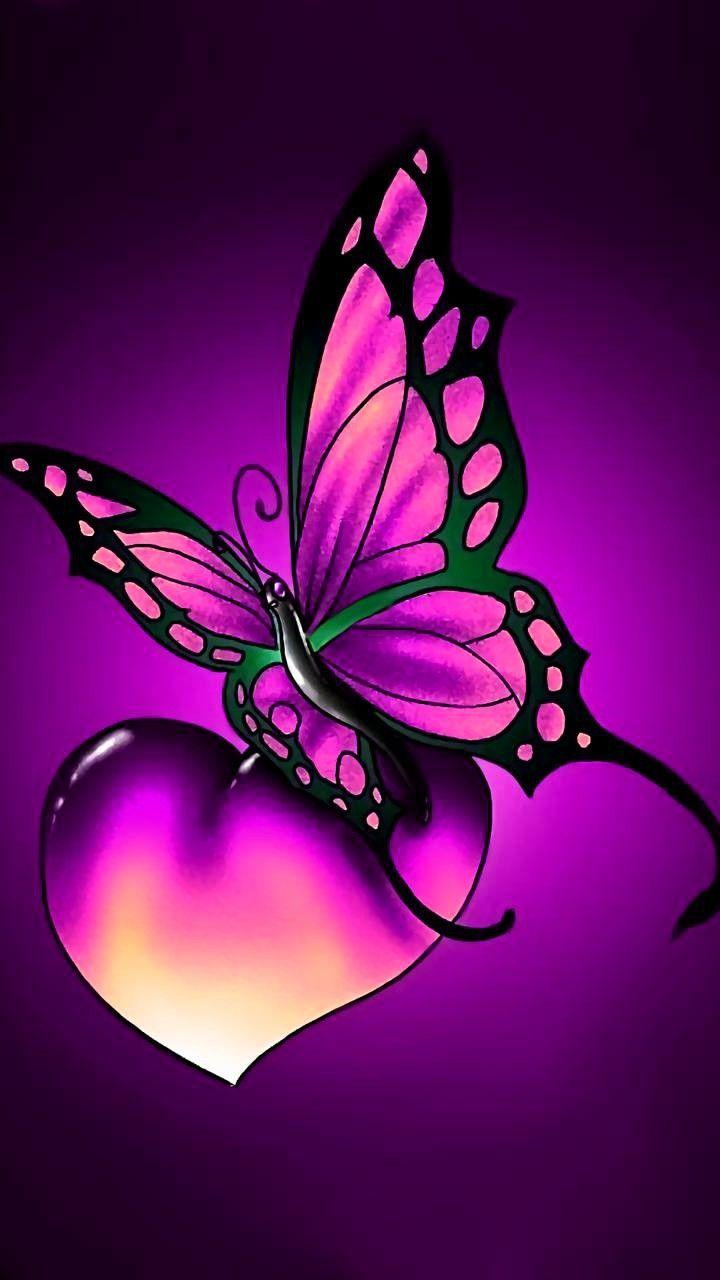 Purple Heart And Buttefly Butterfly Wallpaper Butterfly   Good 720x1280