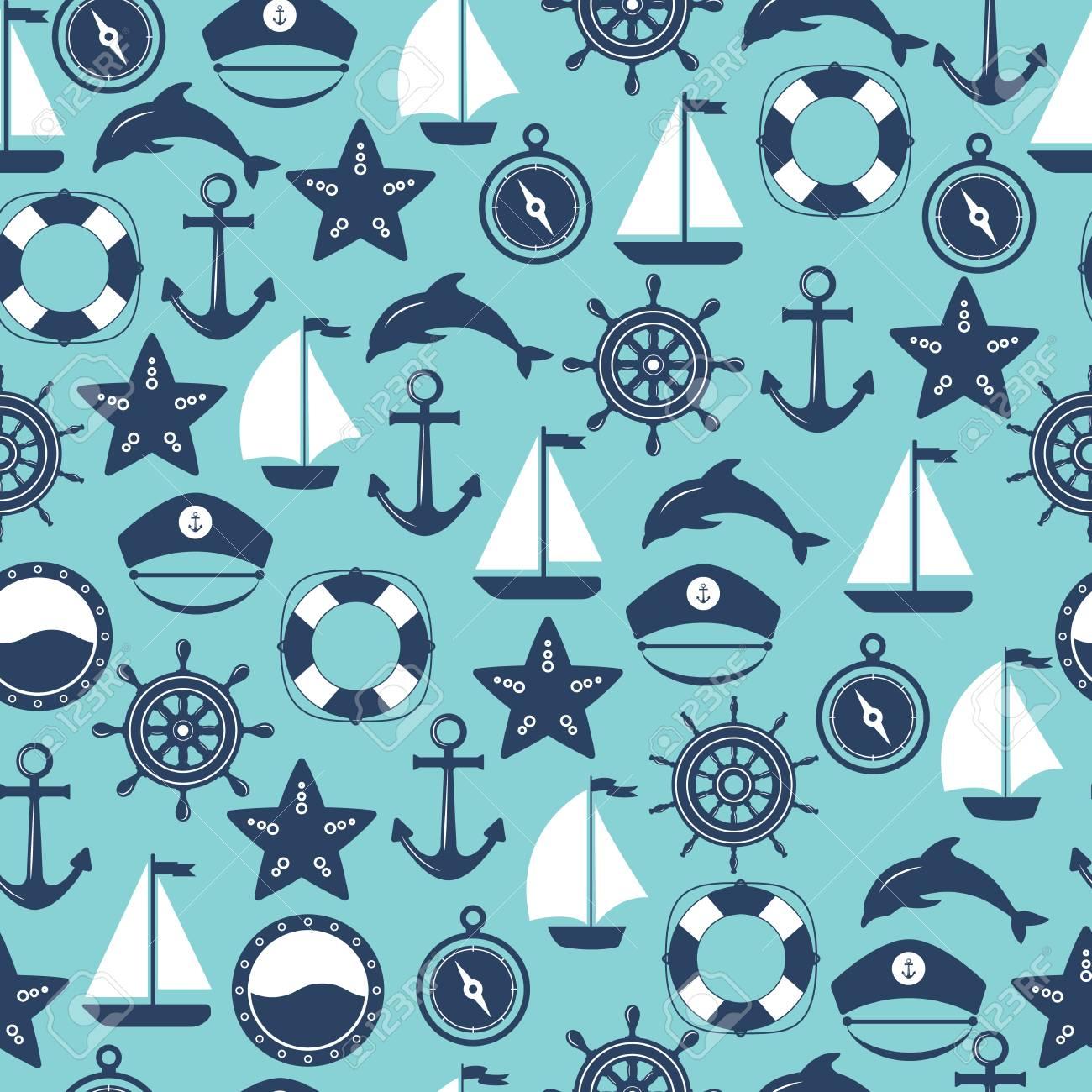 Seamless Marine Pattern Sea And Nautical Backgrounds Marine 1300x1300