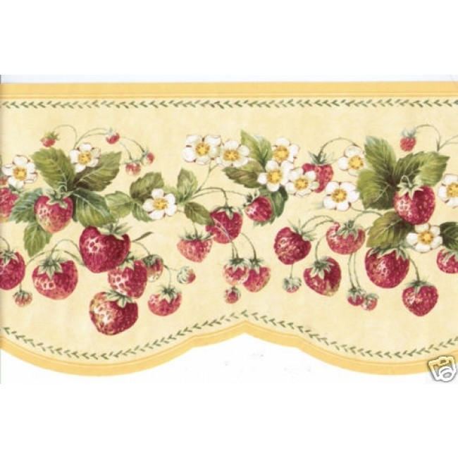 RED STRAWBERRY ON YELLOW LASER CUT WALL BORDER   All 4 Walls Wallpaper 650x650