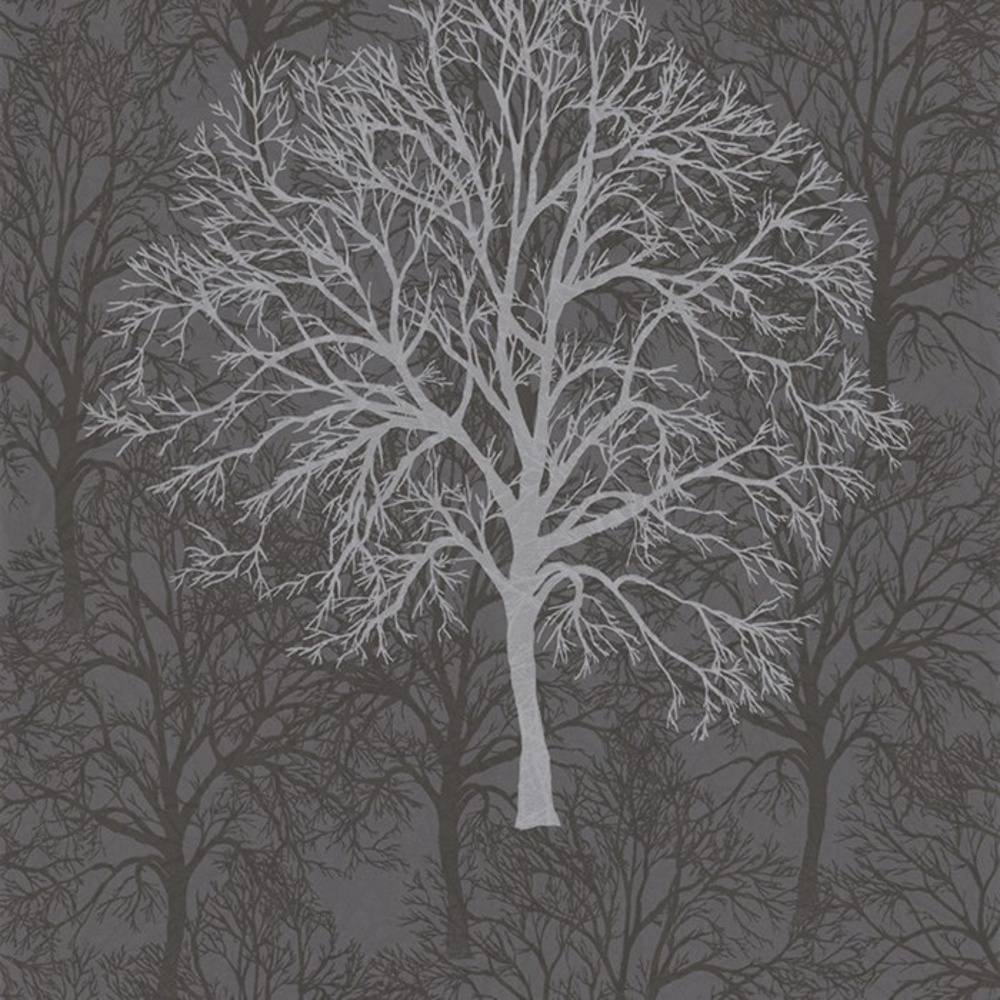 Brown Gothic Silver Black Tree Pattern Motif Metallic Wallpaper 60011 1000x1000