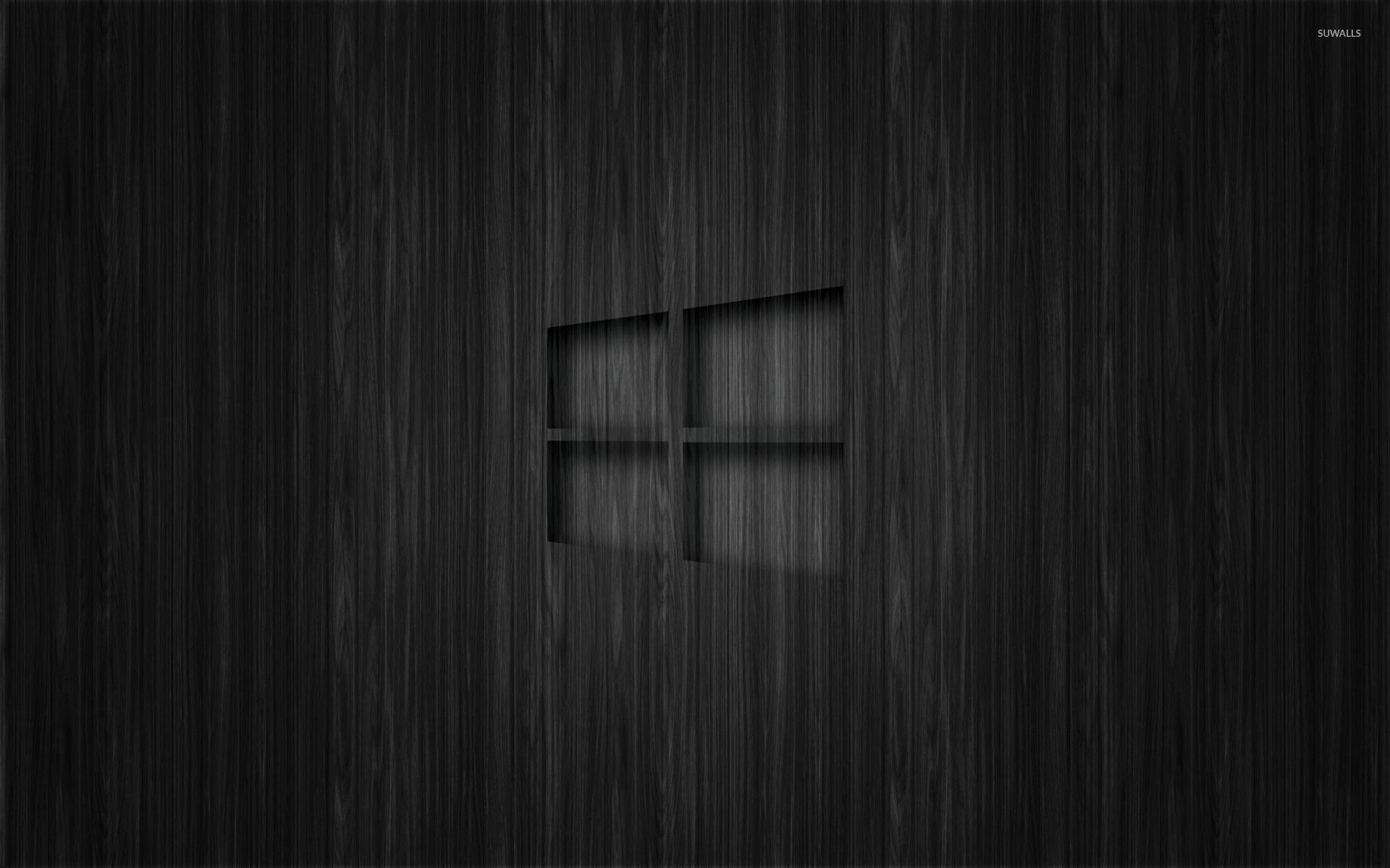 Windows 10 transparent logo on dark wood wallpaper 1680x1050 1680x1050