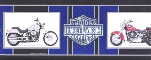 Harley Davidson Motorcycle Wall Border   Wallpaper Border 525x210