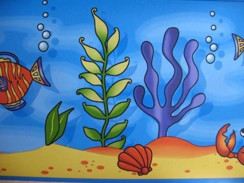 SEA Whales Tropical Fish Coral Reef OCEAN THEME Bath WALL PAPER BORDER 500x375