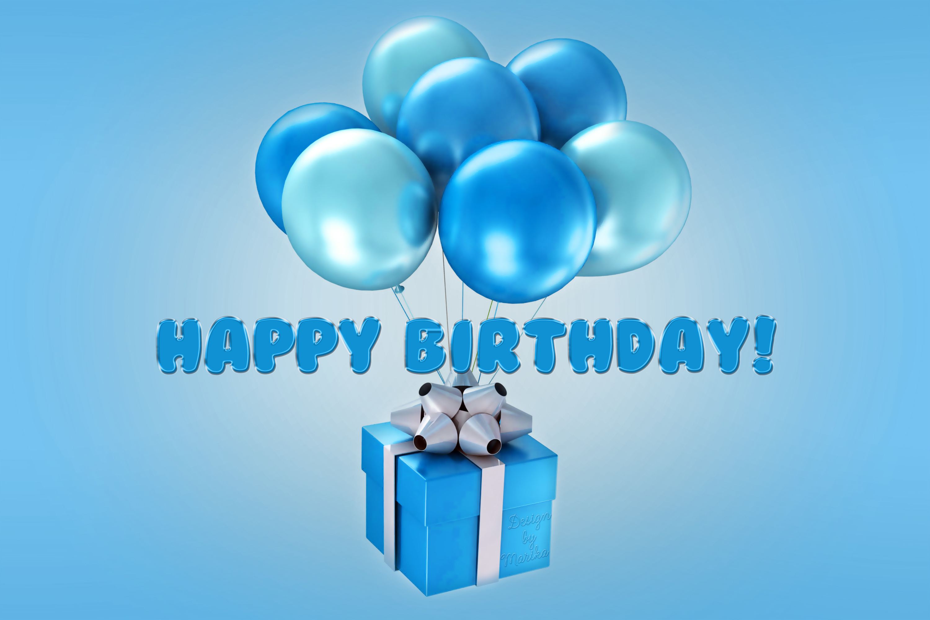 You can download Wallpaper happy birthday blue balloons design by 3000x2000