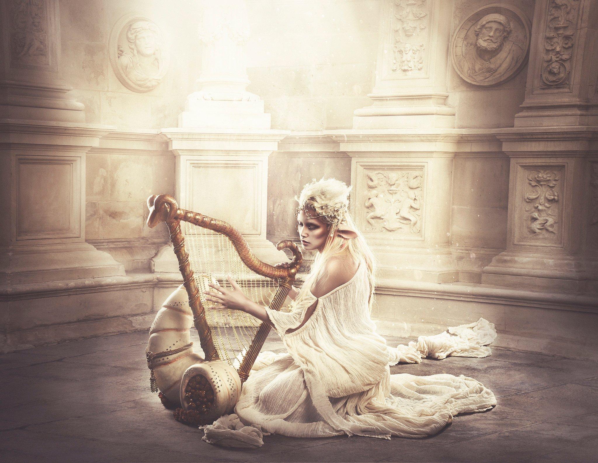 Golden elf with harp in fantasy land HD Wallpaper Background 2048x1588